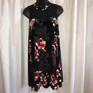 Mock Neck Velvet Floral Dress